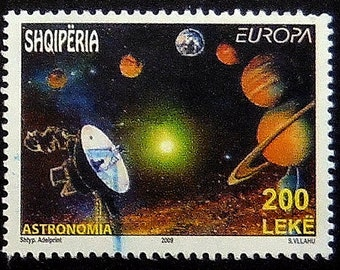 Astronomia Space Planets -Handmade Framed Postage Stamp Art 0399