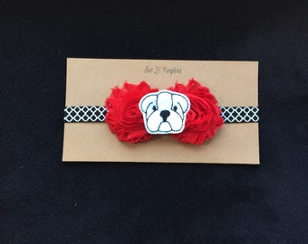 Georgia Bulldogs Baby Headband, Georgia Baby Gift, University Of Georgia, Red and Black Headband, Bulldog Feltie, Red Shabby Flowers, Girl