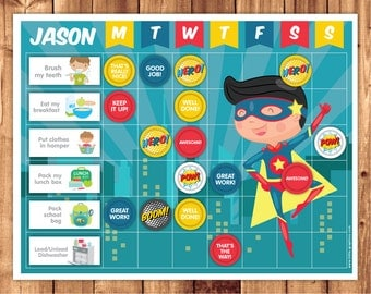 Superhero Reward Chart / Chore Chart / Printable file
