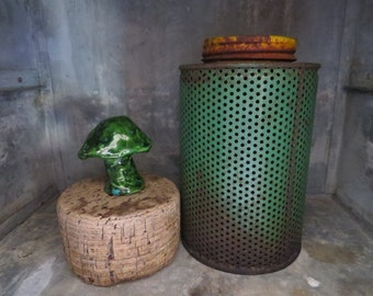 metal salvage, antigue fumigator, rustic decor, green and yellow,industrial salvage,antique garden tool,painted metal can,chippy green paint