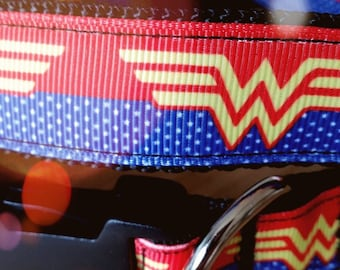 Handmade Wonder Woman dog collar
