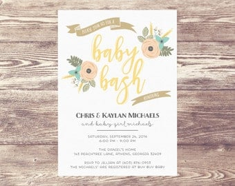 Printed Baby Bash Invitation, Baby Shower Invite, Couples Baby Shower Invitation, Couples Baby Sprinkle Invite, Couples Baby Bash Invitation