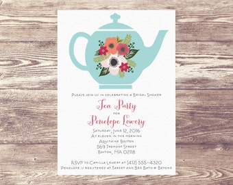 Printed Bridal Shower Tea Party Invitation, Custom Personalized, Engagement Party Invite, Wedding Shower, Baby Shower Tea Party Invitation