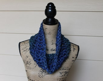 CLEARANCE, Blue Ombre Crochet Cowl, Blue Neckwarmer, Blue Scarf, Winter Neckwarmer, Winter Cowl Scarf, Ombre Neck Cowl, Ombre Crochet Cowl