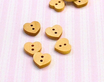 5 wooden buttons heart small