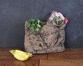 Army brown canvas market tote bag / splatter grocery bag / SALE