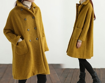 450-Women's Loop-Yarns Wool Oversized Coat, Double Breasted Wool Trapeze Coat, Simplicity, Cape Coat, Poncho Coat, Yellow A-line Coat.