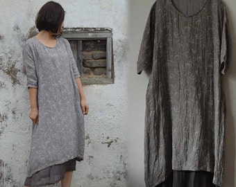 481---Gray Tunic Dress, Silk Cotton Blend, Made to Order.