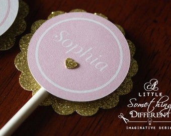 Pink and Gold Glitter Cupcake Toppers / Pink and Gold Cupcake Toppers / Pink and Gold Little Girl Cupcake Toppers