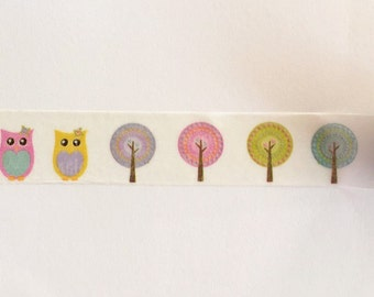 Spring Owls and Trees Washi Tape 15mm