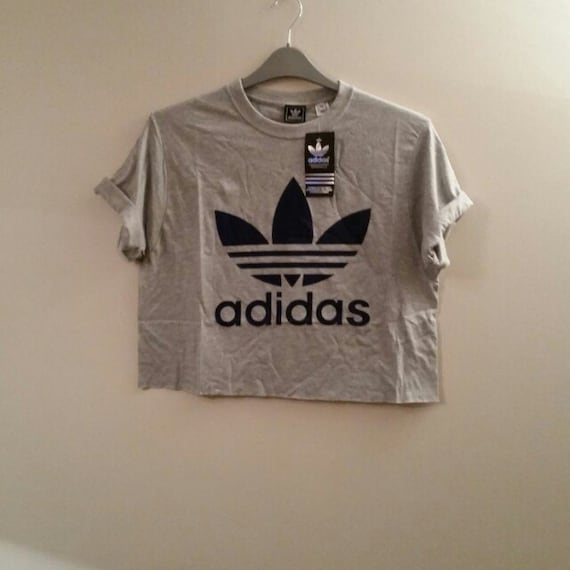 unisex customised adidas crop top t shirt festival swag. Black Bedroom Furniture Sets. Home Design Ideas
