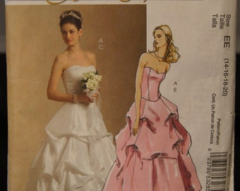 Vintage McCall's M5321 Strapless Wedding Dress or Graduation Dress with pulled up skirt