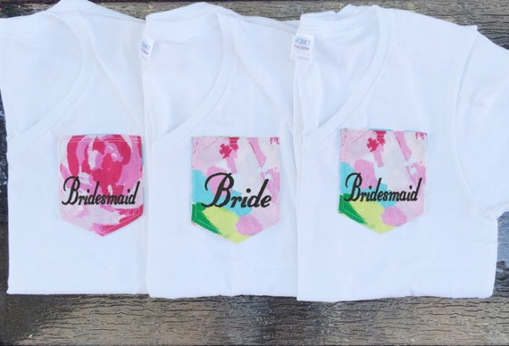Bridal Party Pocket T-Shirts with Lilly Pulitzer Fabric