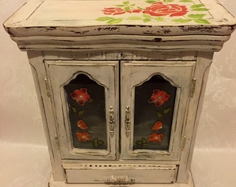Hand Painted, Distressed Large Jewellery Box - Shabby Chic Reclaimed Vintage Jewellery Chest