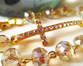 Pavé Crystal Cross Bracelet, Gold-tone Sideways Cross, Crystal Bracelet