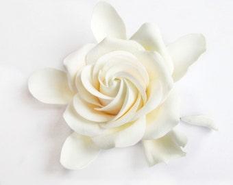 White, Ivory gardenia flower, Bridal gardenia hair clip, Gardenia hair flower.