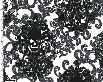 Goth Damask Skulls Fabric Grey Black White Michael Miller Fabrics 100% Cotton - Skulls Out