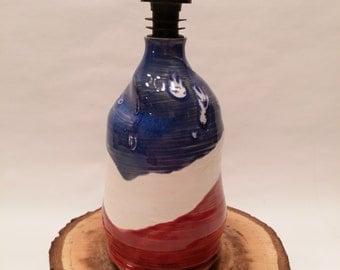 Red White and Blue Olive Oil Cruet Bottle Liquid Dispenser
