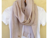 """Soft cotton double gauze scarf, all season stole, reversible Japanese fabric - light beige / micro check gingham - 14"""" wide"""