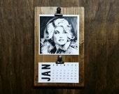 2016 Dolly Desktop Clipboard Calendar on rustic wood stand