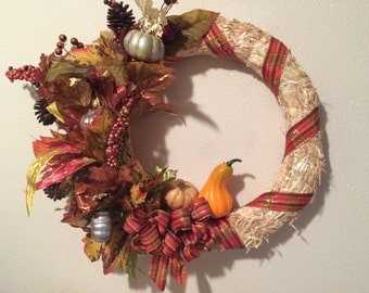 An incredible 18 in straw wreath just in time for Thanksgiving