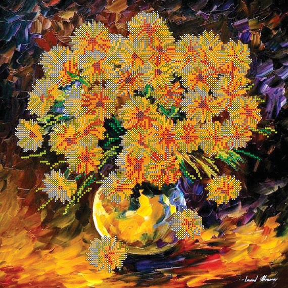 Chrysanthemum bead embroidery beaded painting DIY beading kit craft set room wall decor