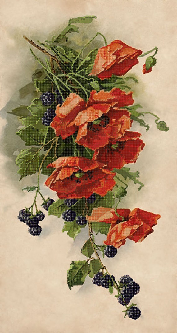 Poppies and Blackberry DIY bead embroidery kit Needlepoint beading Beaded painting set House warming gift idea