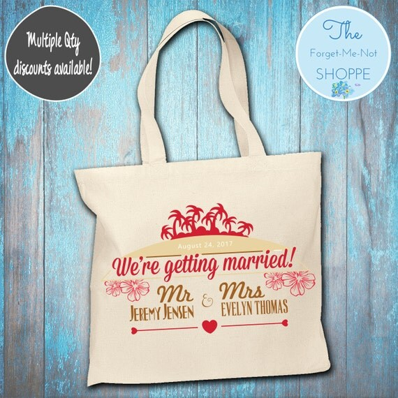 """Beach """"Getting Married"""" Wedding Tote Bag ~ Bride to Be tote bag, Nautical, bachelorette ,Mother,  party tote, Wedding Favor, Gift Tote"""