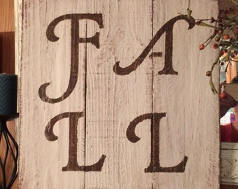 FALL reclaimed wood sign