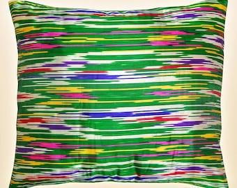lovely uzbek pure natural silk ikat pillow cushion cover a3910