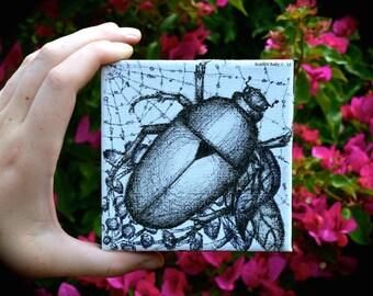 Green June Beetle Illustration - 'Escapist'