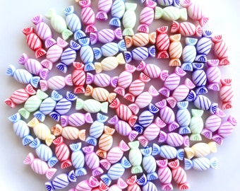 Teeny Tiny Candy Mix Resin Beads - 14mm - Mix Colors - Spacer Beads - Miniature Candy - Sweet - Fake Candy