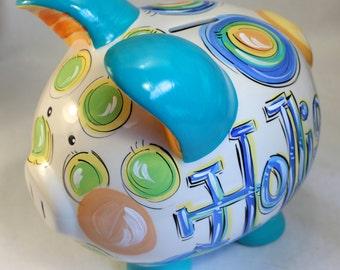 Piggy Bank for boys, Ceramic Piggy Bank, Personalized Piggy Bank
