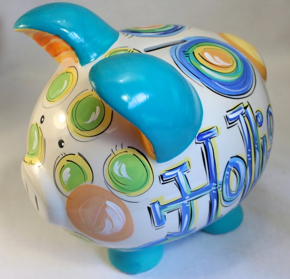 Items similar to piggy bank for boys ceramic piggy bank personalized piggy bank on etsy - Coin banks for boys ...