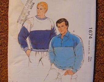Men's Loose Fitting Sweatshirt Uncut Kwik Sew Sewing Pattern 1674 Size s m l xl