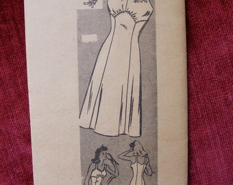1940's Vintage Mail Order Factory Cut Sewing Pattern 9082 Misses' Full Slip Size 18 Bust 36