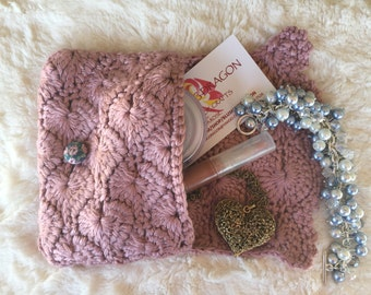 Crocheted Purse Pouch - Rose