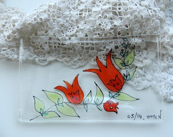 Fused glass plate,fused glass soap dish,painted soap dish,hand painted soap dish,bathroom accessories,gift for home