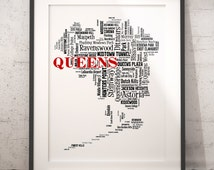 Queens New York Map Typography Art Poster Print, Queens Neighborhoods, Queens Wall Art, Queens Poster Print, Bar Decor,Travel Moving Gift