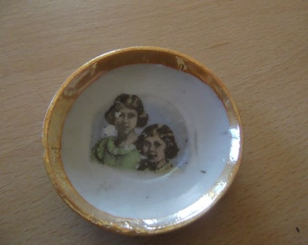 tiny vintage plate - Queen Elizabeth and Princess Margaret