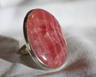 Rhodochrosite Ring Huge Vintage