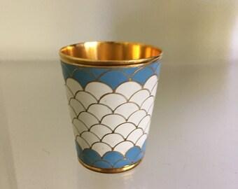 Vintage Mid Century Modern/Hollywood Regency Enamel and Brass Toothpick Holder/ Mini Vase