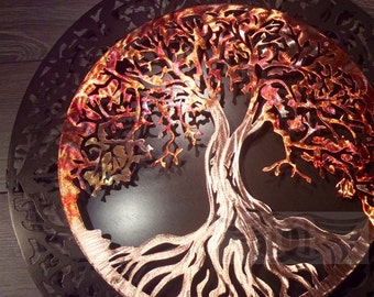 7th Anniversary Gift  (Copper) Tree of Life with Dark Metalic Grey Background