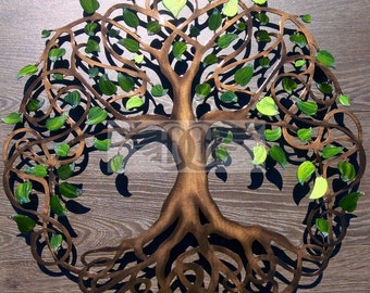 Green Pearl Sparkle Tip Infinity Tree Metal Tree Wall Art Unique Gift