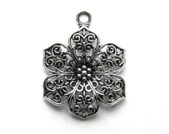 6 Silver Filigree Flower Charms - Large 32mm