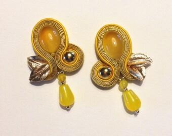 natural yellow agate soutache earrings