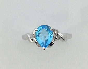 Natural Blue Topaz with Natural Diamond Ring 925 Sterling Silver