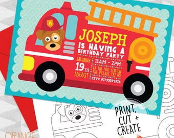 Printable Personalised Red FIRE ENGINE DOG Pup Birthday Party Invitations Stationary