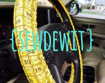 Steering Wheel Cover Teacher Appreciation Yellow Black Ruler Great Gift Idea Elementary His Her