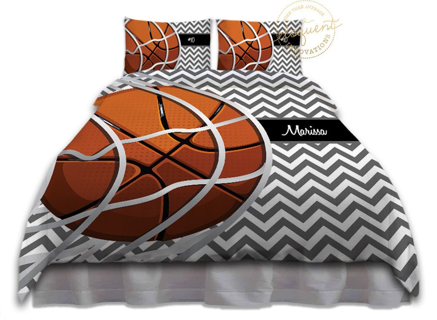 Basketball Comforter Set Grey Amp White Chevron Bedding